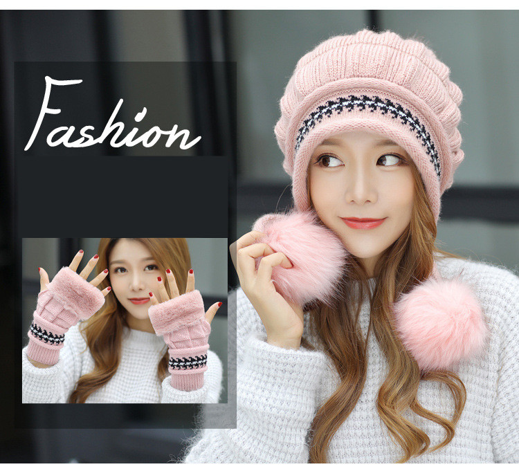 New Autumn And Winter Korean Version Of The Warm Women Hat Gloves Set Knitted Hair Ball Two Sets Of Ladies Thickening HC37 (3)