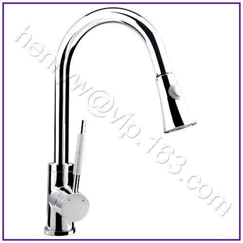 L15052-роскошный хромированный цветной съемный выдвижной кухонный распылительный смеситель - Цвет: Светло-серый