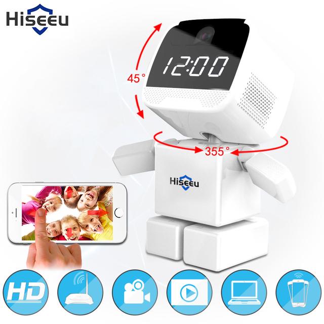 960 P Relógio Robô Câmera IP Sem Fio Wi-fi wi-fi Rede de Apoio 128G cartão de memória Da Câmera de Visão Noturna de Segurança CCTV remoto 1.3MP