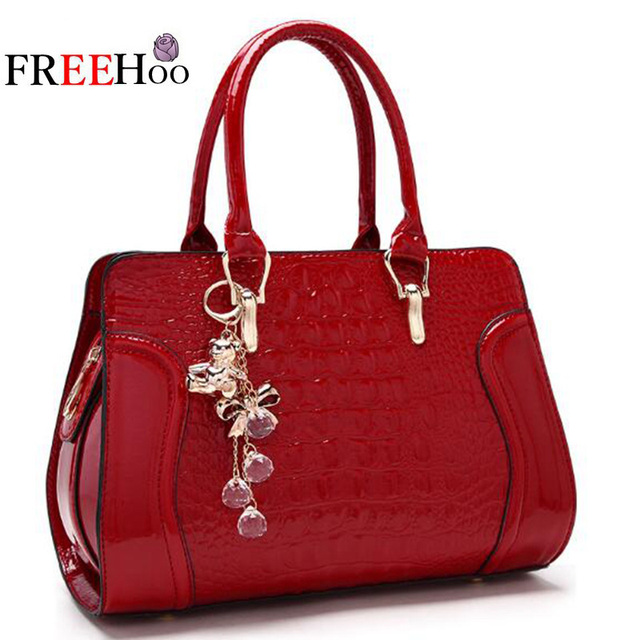 6a00ff7e931c US $23.95 42% OFF|Bags for women 2018 new luxury brand crocodile pattern  patent pu leather fashion handbag bride white Shoulder bag bolsos mujer-in  ...