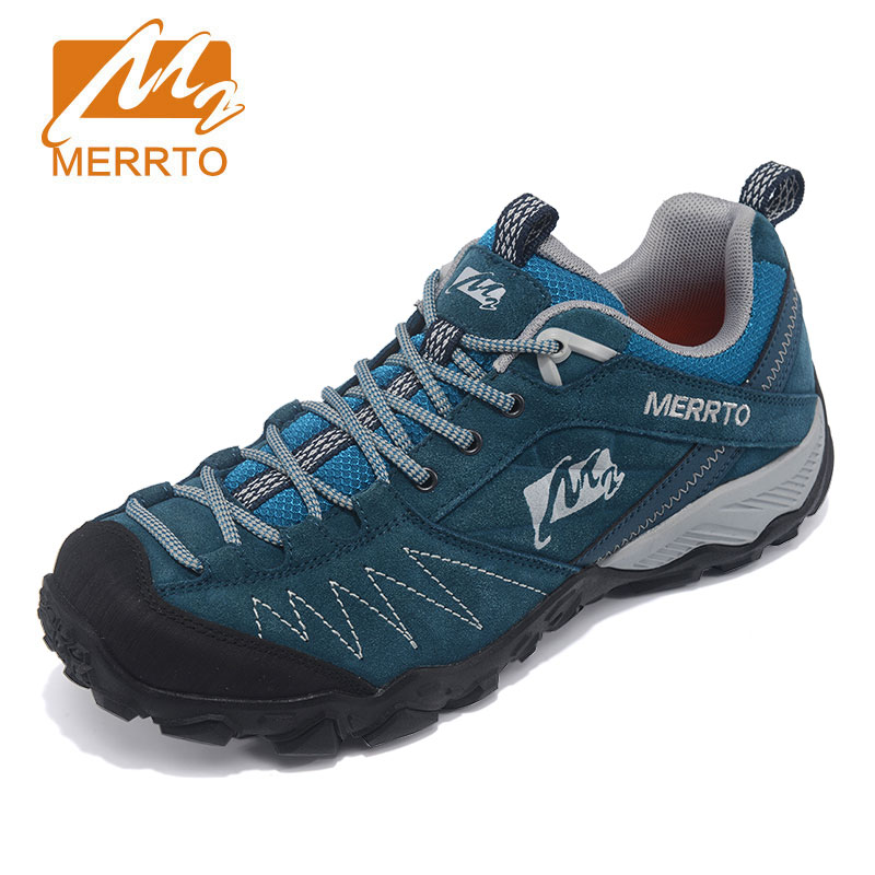 MERRTO Outdoor Running Shoes Men Genuine Leather Sports Sneakers Men Breathable Running Shoes Athletic Jogging Shoes Mans faux leather insert breathable athletic shoes