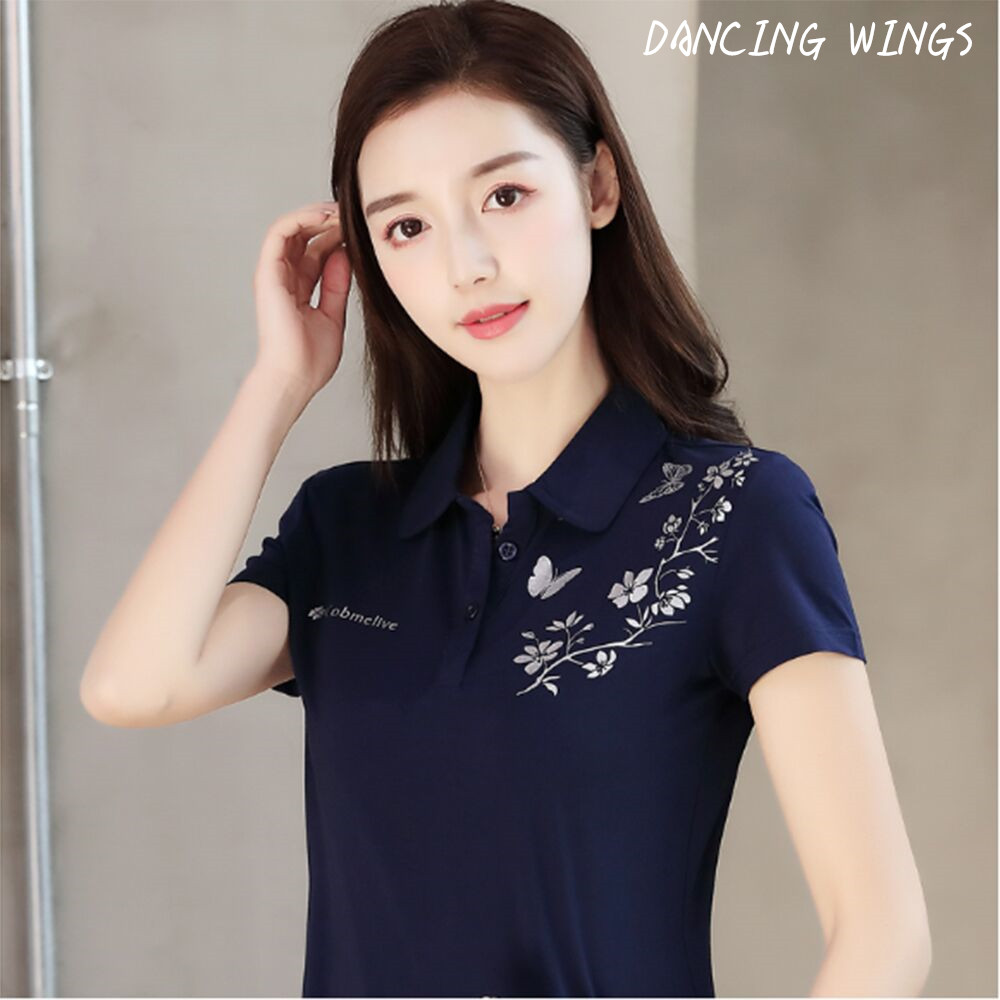 Women Polo Shirts Summer S-4XL Female Tops Tees Clothing Butterfly Floral Print Short Sleeve Ladies Clothes