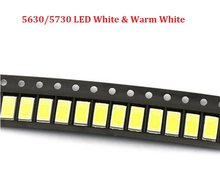 200pcs 5630 SMD 5730 LED Surface Mount Led White 0.5w Ultra Birght Led Diode Chip Warm White 3200k & 6500k 0.5W-150Ma 3.2~3.4V