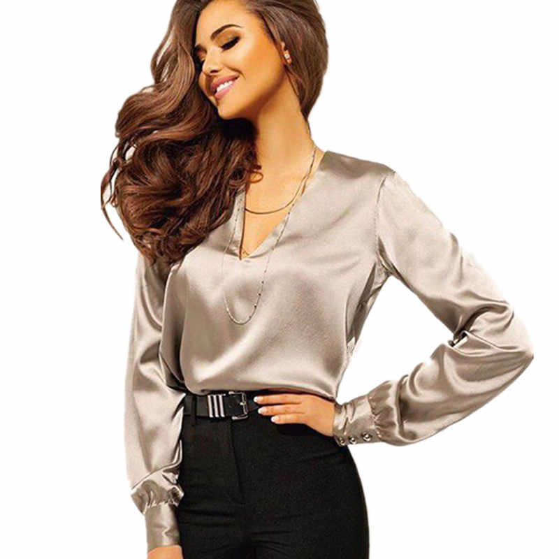 c1c954090c4 2019 Sexy Fashion V Neck Satin Blouse Shirt Casual Long Sleeve Button  Women's Slim Blouses Office