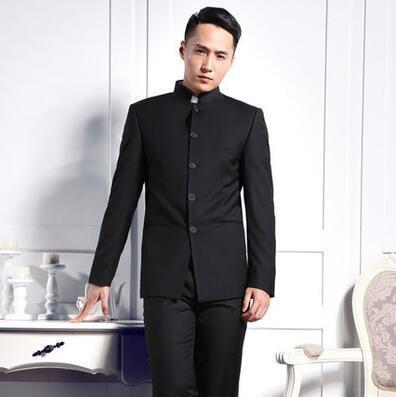אחת חזה slim fit גברים בליזר חליפת טוניקה הסינית זכר מעיל צווארון דוכן אופנה גבר חליפות חתן לבוש הרשמי