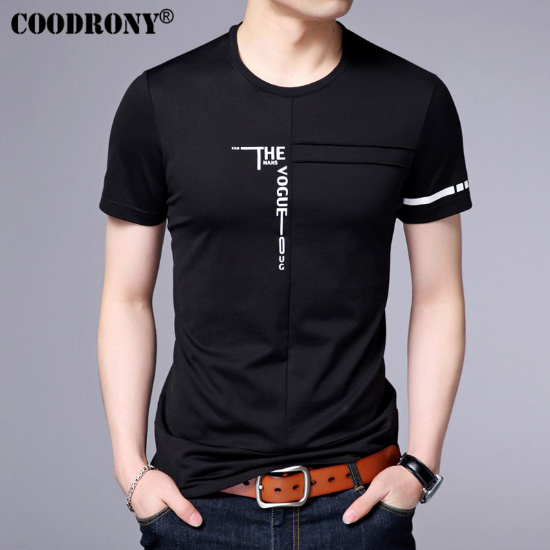 COODRONY 2017 Spring Summer New Arrival Fashion Letter Print Short Sleeve O-Neck   T  -  Shirt   Men Pure Cotton   T     Shirts   Men Tops S7620