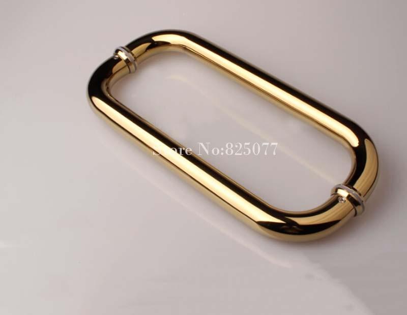 O Envio gratuito de porta do chuveiro sem moldura de titânio lidar com O forma aço inoxidável 304 comprimento do punho 425mm HM151