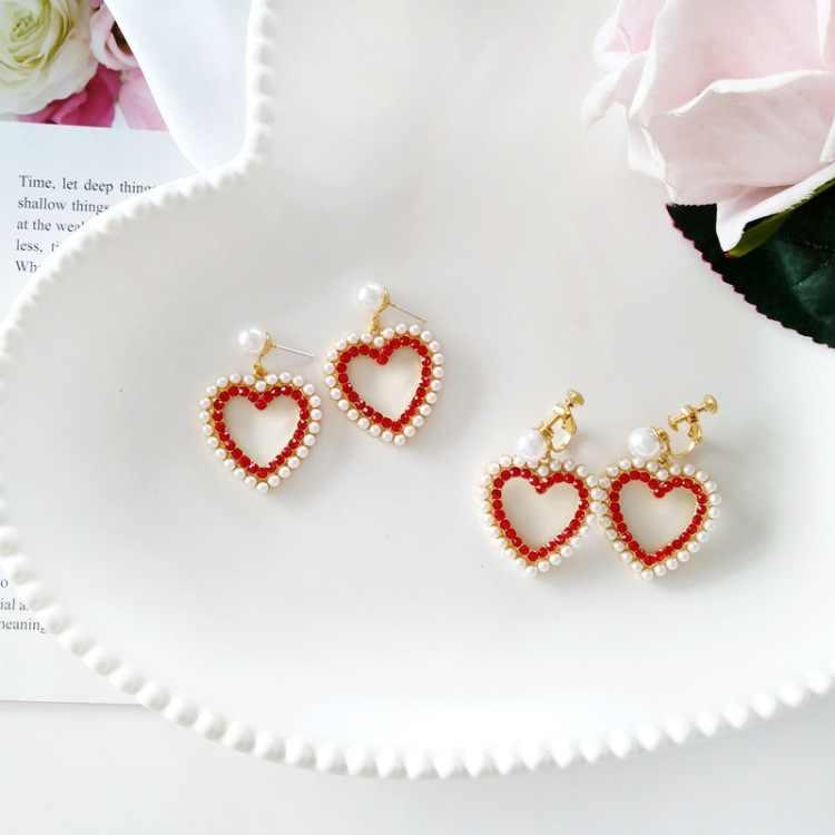 Red Heart Shaped Clip On Earrings