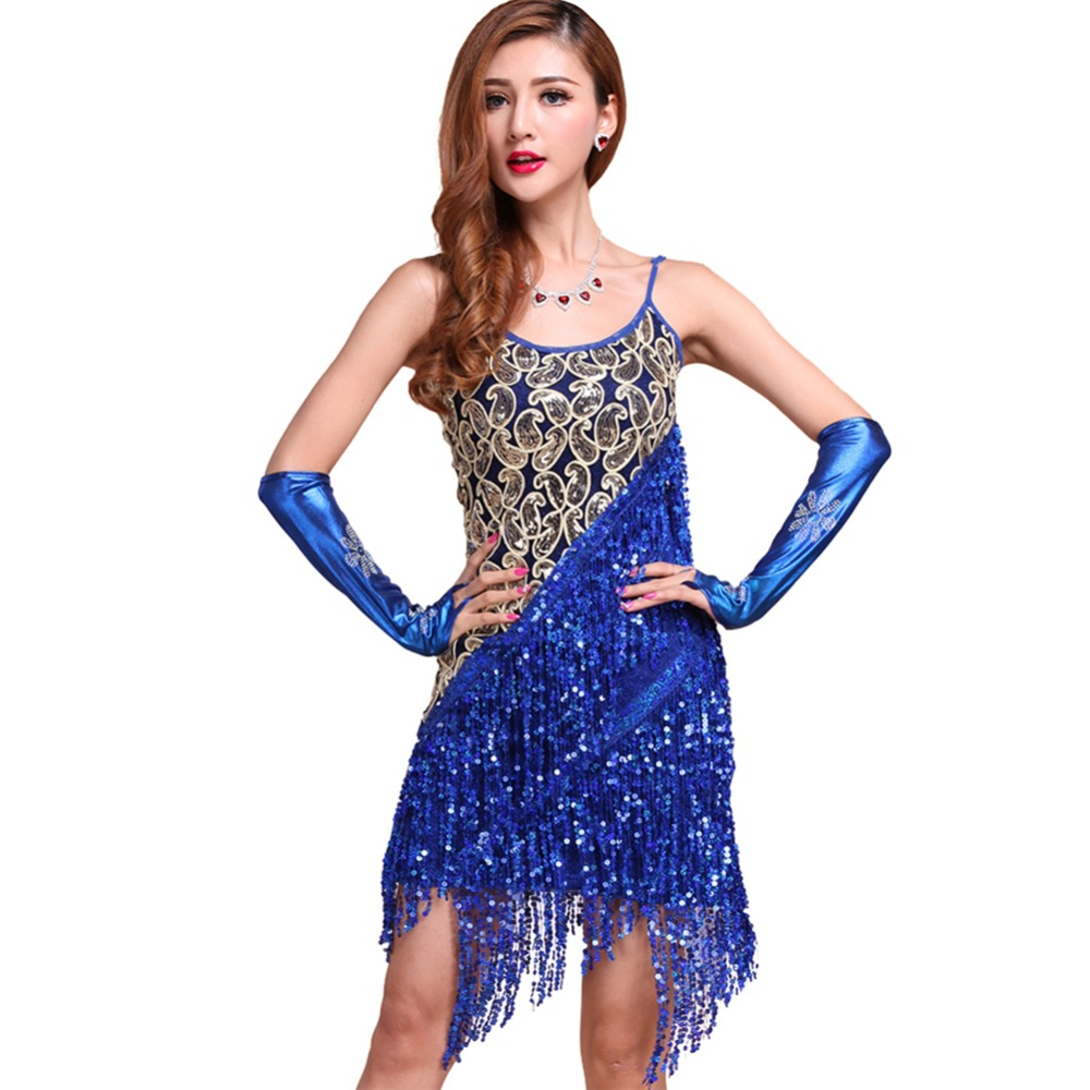 cac52acac2ab Women Latin Tango Rumba Salsa Tassels Dance Dress Women Sexy Cocktail Party  Glitter Tassels Dress Y3