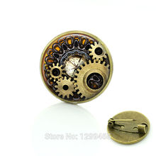 Steampunk jewelry Vintage Egyptian Brooches pins Glass cabochon clock gears picture pin Fashion mandala Christmas gift C172