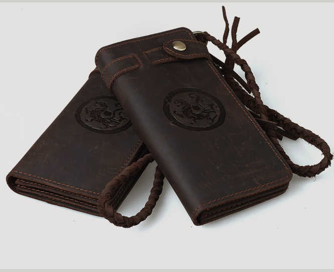 Vintage Crazy Horse leather Men Wallet Men Genuine Leather wallet male Purse Handmade long style clutch Bag Coin Purse Money Bag