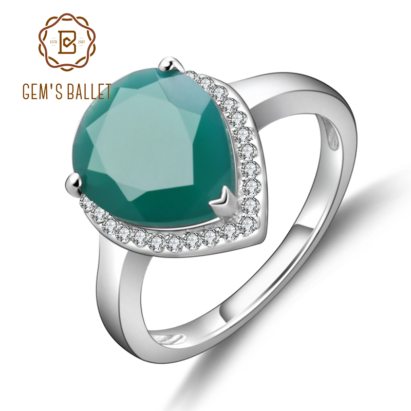 GEM'S BALLET 925 Sterling Silver Water Drop Green Agate Rings Trendy Classic Engagement Fine Jewelry for Women Gemstone Ring
