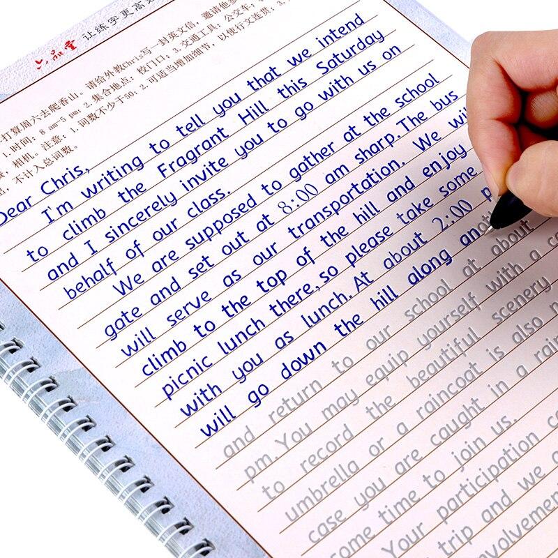 Libros de ejercicios de caligrafía para niños y adultos libros de escritura de caligrafía en inglés de 3 uds.