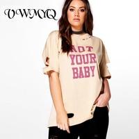 VWMYQ Plus Size Women Clothing Oversized T Shirt Casual O Neck Hole Big Size T Shirt