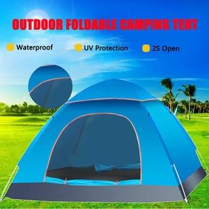 Image 4 - Di grandi dimensioni di tiro tenda esterna 3 4 persone automatico della velocità aperto lanciare pop up antivento impermeabile spiaggia tenda da campeggio grande spazio