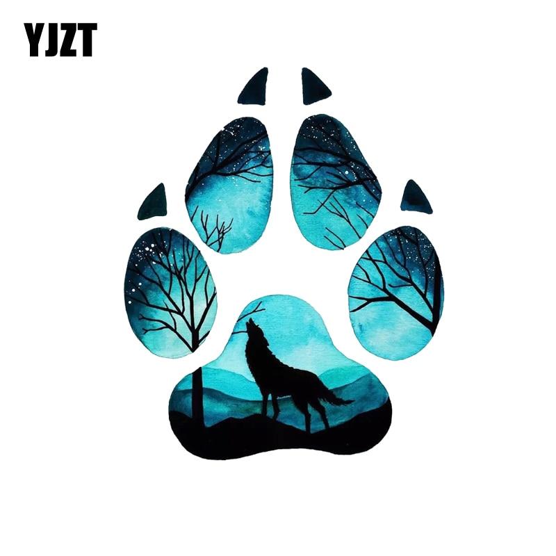 YJZT 13 см * 15,9 см креативный пазл с изображением волка, наклейка из ПВХ для мотоцикла, автомобиля, 11-00533