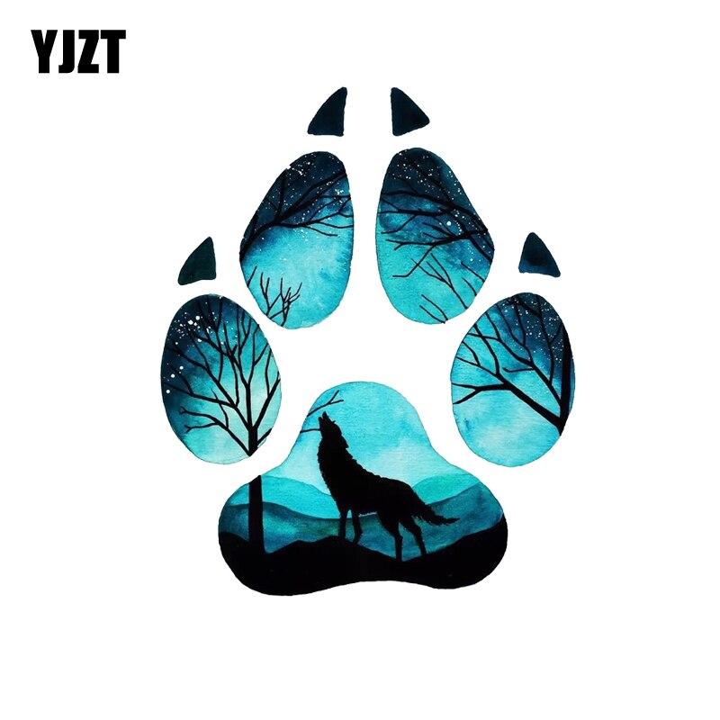 YJZT 13CM*15.9CM Creative Wolf Footprint Puzzle Decal PVC Motorcycle Car Sticker 11-00533