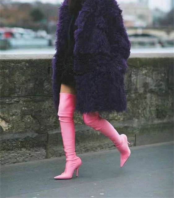 20d66d765df Fashion Runway Stretch Sock Boots Pointed Toe Stiletto Heel Thigh High Over  the Knee Boots Women Designer Shoes Sexy Long Boots