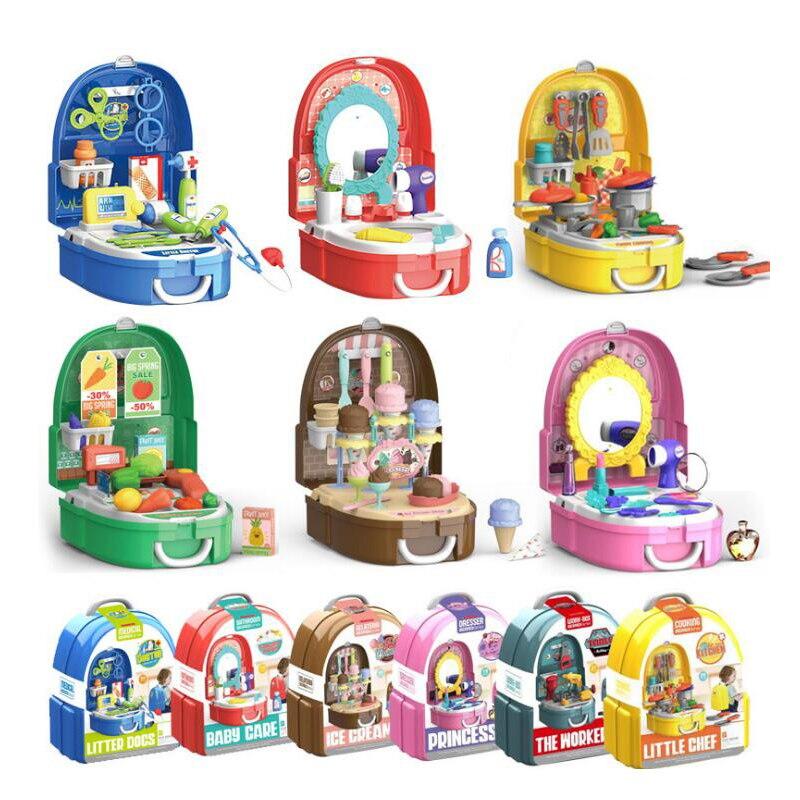 >8 <font><b>Styles</b></font> Pretend Play Toys Backpack Doctor <font><b>Food</b></font> Tools Cosmetics Set Toys for Girl <font><b>Boy</b></font> Children Gifts