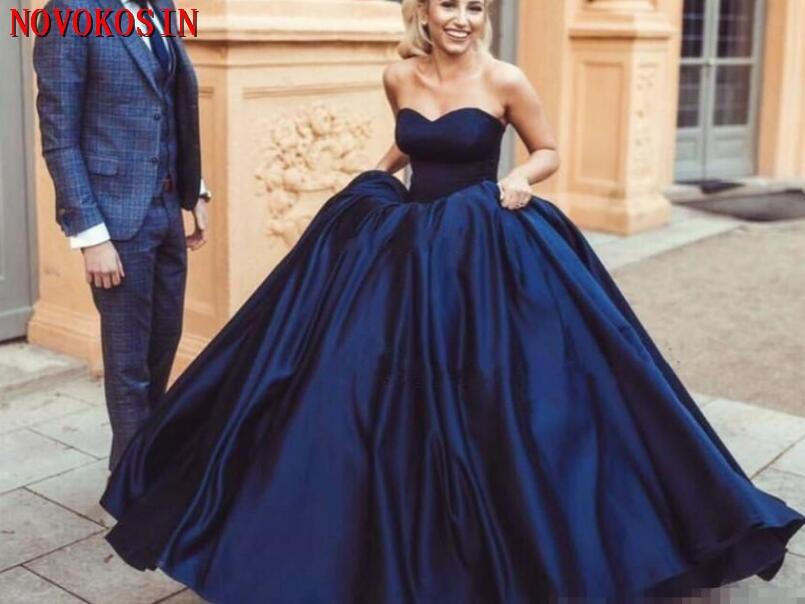 Bleu marine robe de bal robes de bal Satin chérie décolleté sans manches 2019 moderne sur mesure arabe formelle Quinceanera robes