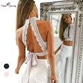 2017 Nova Mulheres Doce Elegante Laço Bordado Sexy Plunge Keyhole Cut Out Back Backless Verão Parte Superior Do Tanque Colheita Bralette Blusa
