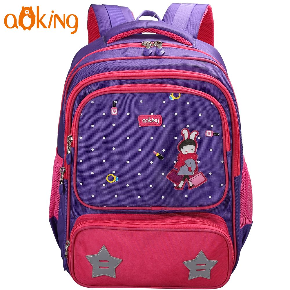 Aoking школьный рюкзак для детей для отдыха милые животные печати основной водонепроницаемый нейлоновый рюкзак с светоотражающие полосы