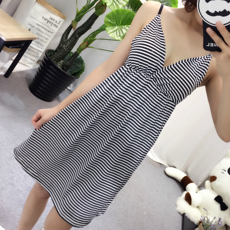New Cotton Nightgown Women Stripe Nightdress Spaghetti Strap Sexy Summer Sleepwear V neck Nightie Sleepshirts With Chest Pad in Nightgowns Sleepshirts from Underwear Sleepwears