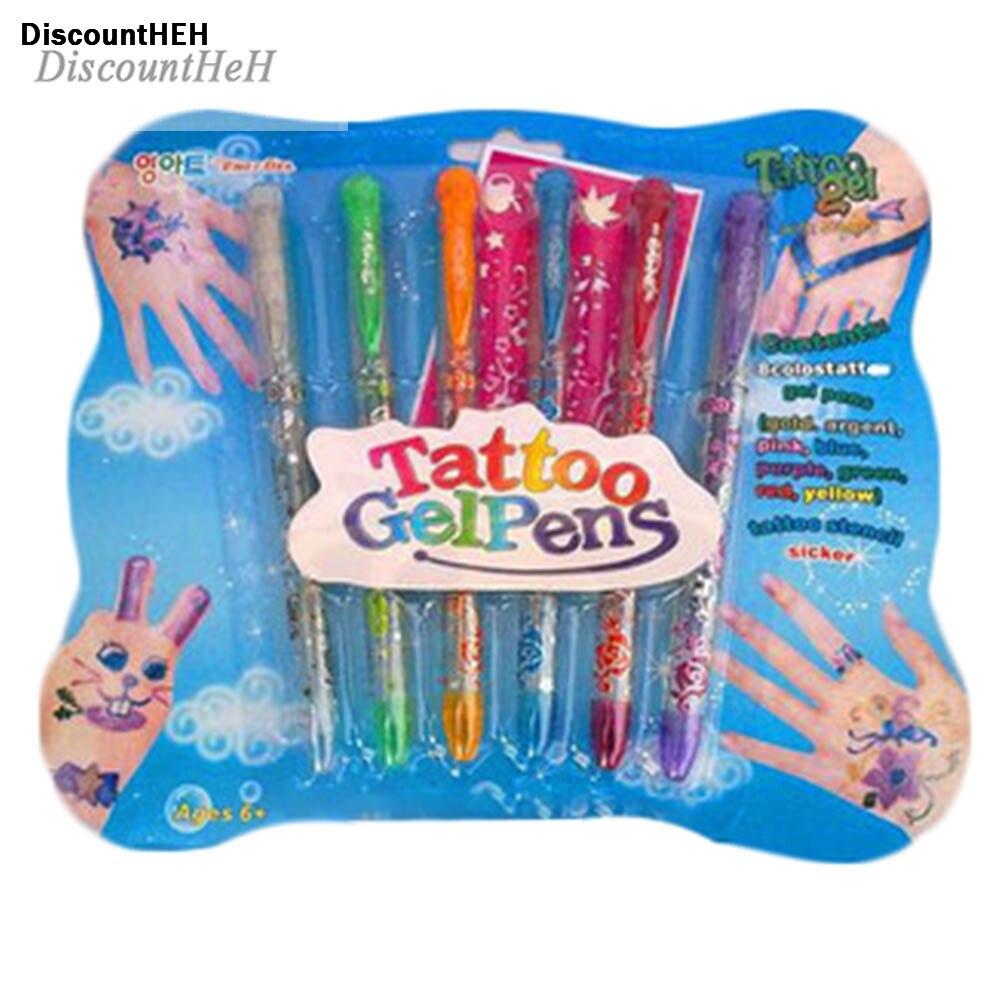6pcs/set Kids DIY Tattoo Promotional Pen Tattoo Gel Pens Novelty Toy Pen Gifts Tattoo Pen