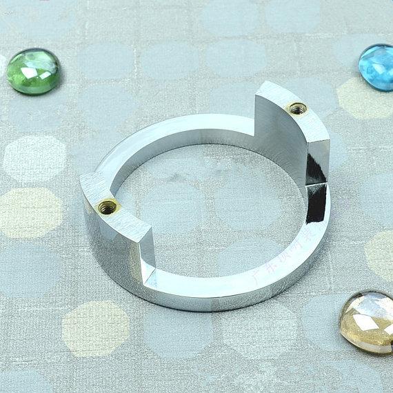2.5\'\' Modern Bright Silver Drawer Ring Pulls Dresser Cabinet Handles ...