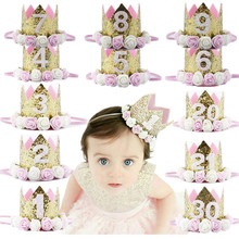 Baby Girl Birthday Party Hats Kids 1 2 3 4 5 6 7 8 9 Years Princess Crown Cap Decorations Favors Headband