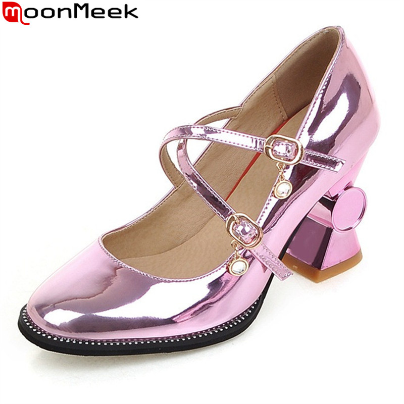MoonMeek 2018 new summer spring pumps women shoes extreme high heels round toe square heel with cross tied sweet ladies shoes moonmeek new arrive spring summer female pumps high heels pointed toe thin heel shallow party wedding flock pumps women shoes
