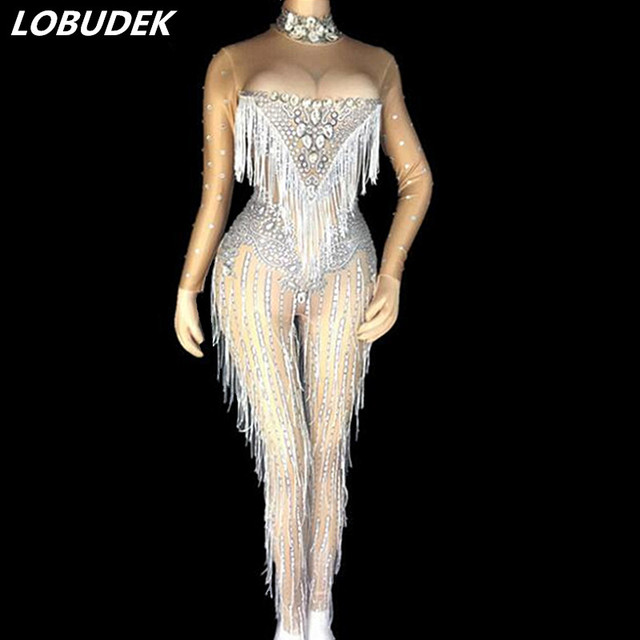 Sparkly Rhinestones Tassels Jumpsuit Long Sleeve Stretch Rompers Lady Singer Sexy Nightclub Costume Party Celebration Stage Wear