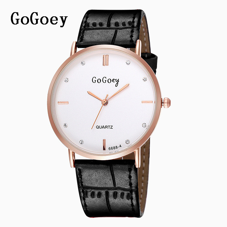 Luxury Gogoey Brand Leather Watches Women Men Fashion Crystal Dress Quartz Wristwatches 6688-4