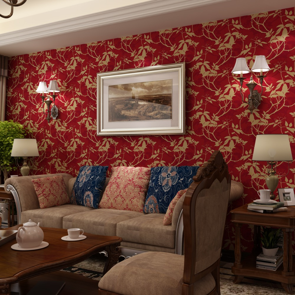 American Countryside Pastoral Wallpapers Nonwoven 3d wall murals  Silk Leaves Warm Living Room Retro Green Red Black Wallpaper