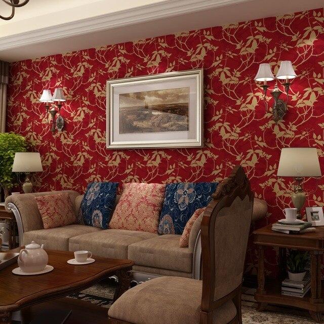 Amerikanischen Land Pastoralen Tapeten Vlies 3d Wandbilder Seide Leaves  Warmen Wohnzimmer Retro Grün Rot Schwarz Tapete