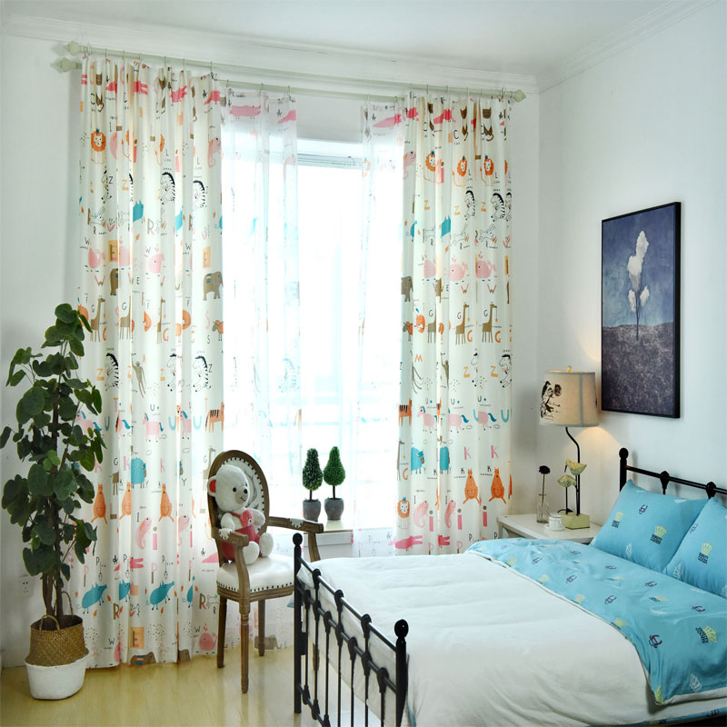 Cute Printing Curtains For Living Room Bedroom Children
