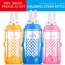 Childrens Straw Kettle 500ml With Shoulders BPA Free Summer Drinking Cup Baby Portable Leakproof Beverage Milk Juice Bottle