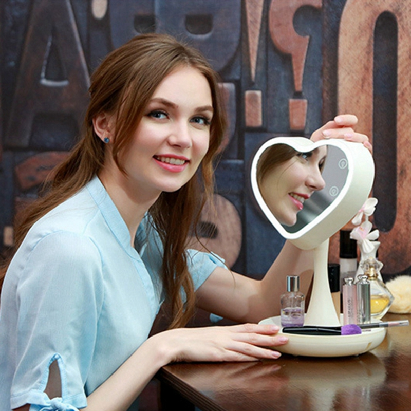 Mirror Led Electric Makeup Mirror Heart Shape Makeup Mirror For Valentine's Day Gift Desk Lamp Adjustable 180 Rotating Hot Sale стулья для салона led by heart 2015