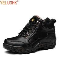 Natural Leather Men Boots Plush Warm Men Shoes Winter High Quality Winter Boots Men Brown Black