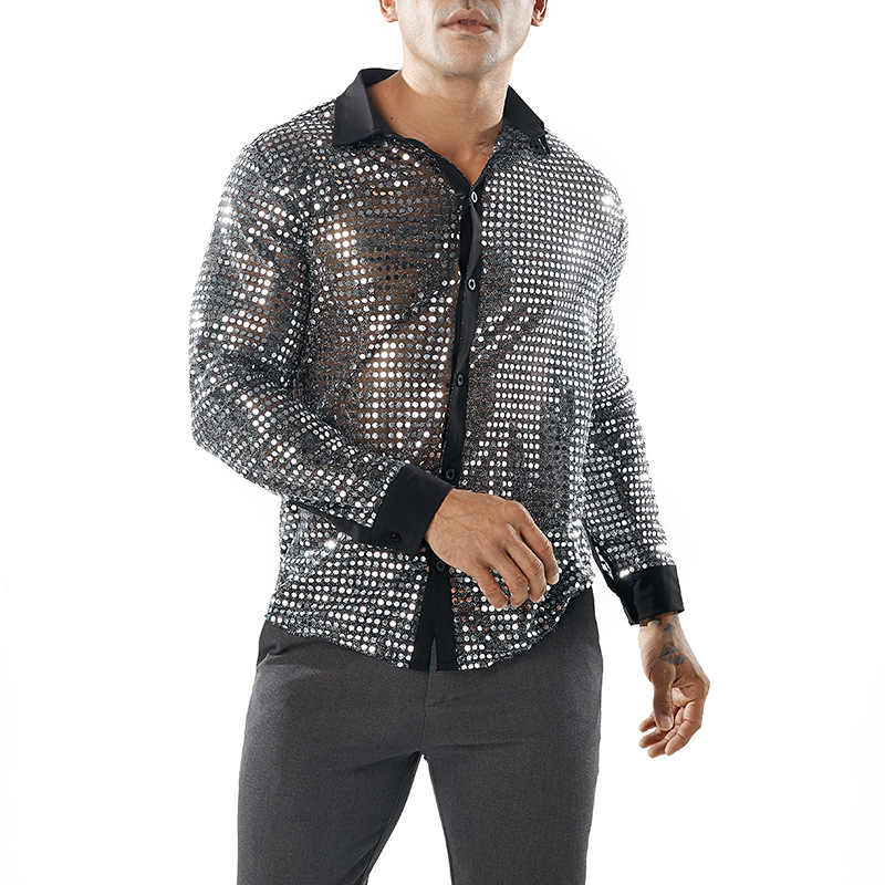Shiny Gold Sequin Glitter Embellished Transparent Shirt Men Sexy See Through Shirt For Male Nightclub Stage Prom Dance Chemise