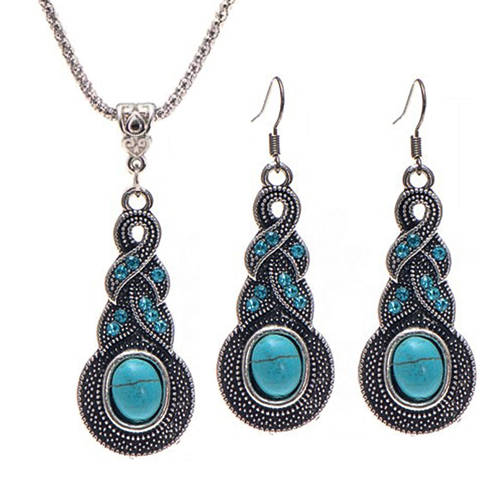 Wholesale Classic Retro Turquoise Beaded Blue Crystal Pendant Necklace Drop  Earrings For Women Wedding Jewelry Set