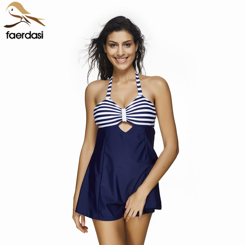 Sexy Plus Size Stripe Padded Halter Skirt Swimwear Women One Piece Suits Swimsuit Beachwear Bathing Suit Swimwear Dress S To 3XL trendy solid color halter pleated one piece skirt swimwear for women
