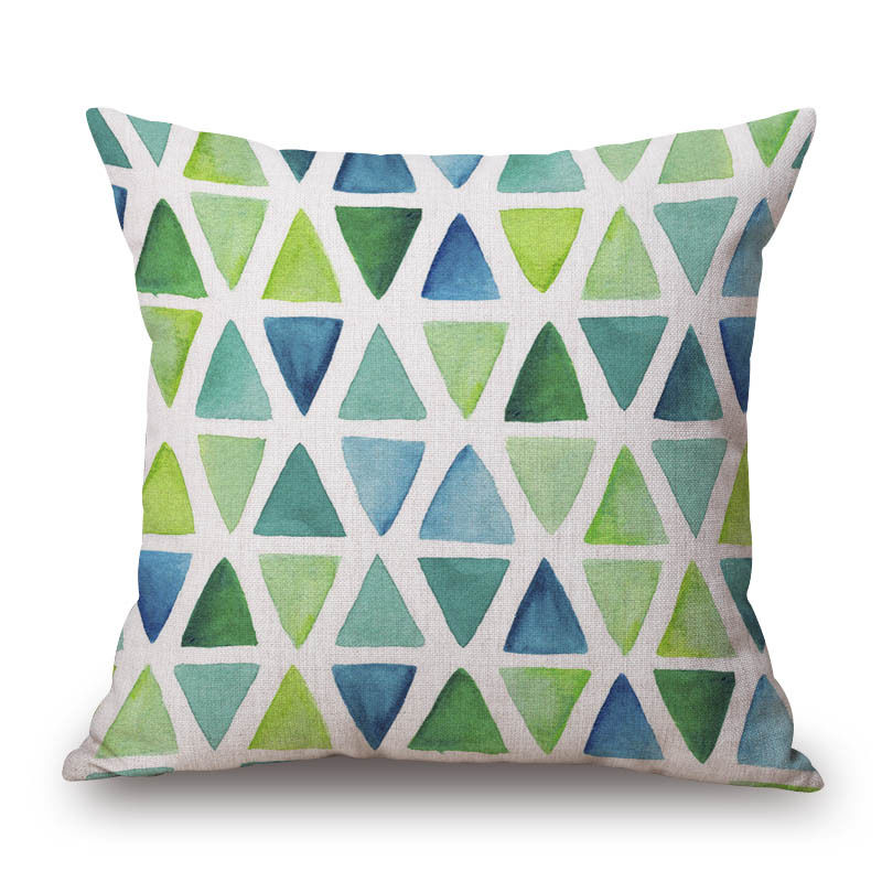 Green Leaves Cushion Cover Geometric Pillow Case Circles Plaid Pillow Cover for Car Home Sofa Decorations Pillowcase