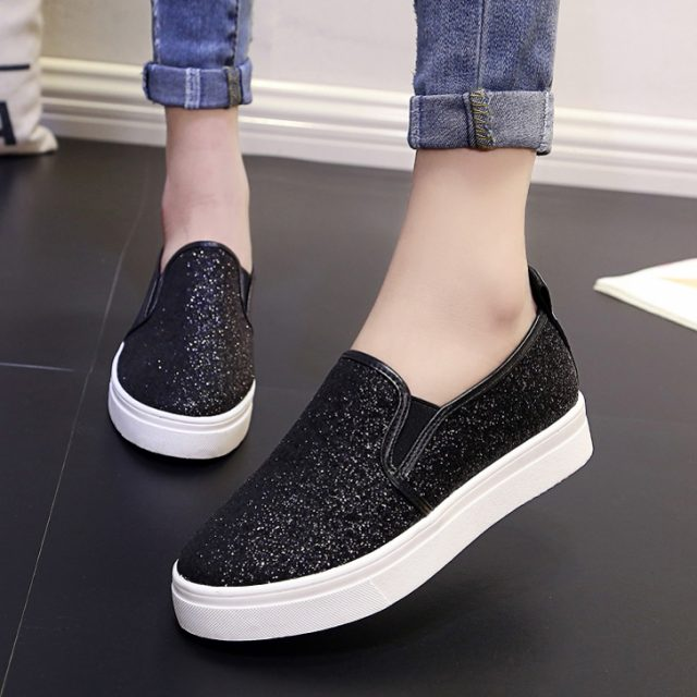 Flat Shoes Silver Casual Shoes Glitter