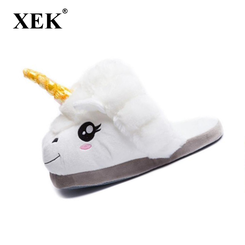 XEK Home Cartoon Unicorn Warm Cotton Plush Slippers Soft Funny Animal Monster Slipper For Grown Ups Indoor\Floor Shoes ST225 lovely animal unicom little twin stars gemini unicorn cartoon home furnishing slipper indoor mute ma am slipper kawai toy gift