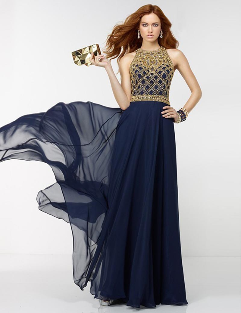 Online Get Cheap Gold and Blue Evening Dress -Aliexpress.com ...