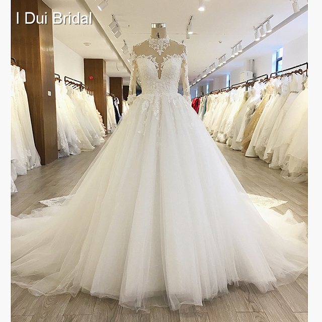 High Neck Long Sleeve Ball Gown Wedding Dress Lace Appliqued Beaded ...
