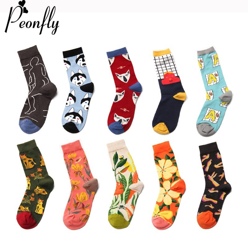 PEONFLY Fashion Casual Countryside Lovely Dog Cat Pattern Socks Men Printing Lattice Letters Colorful Flowers Cotton Happy Socks