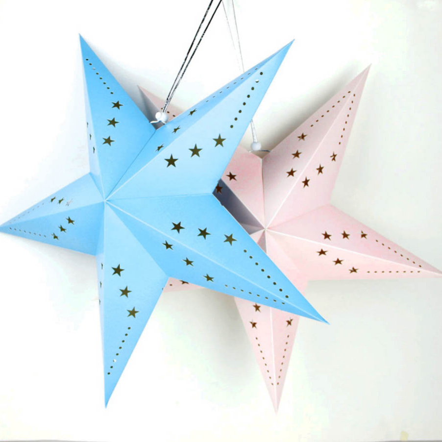 1pc 60cm Bule/Pink Paper Star Lanterns for Wedding Birthday Party Baby Showers Kids Room Kindergarten Warm Decoration