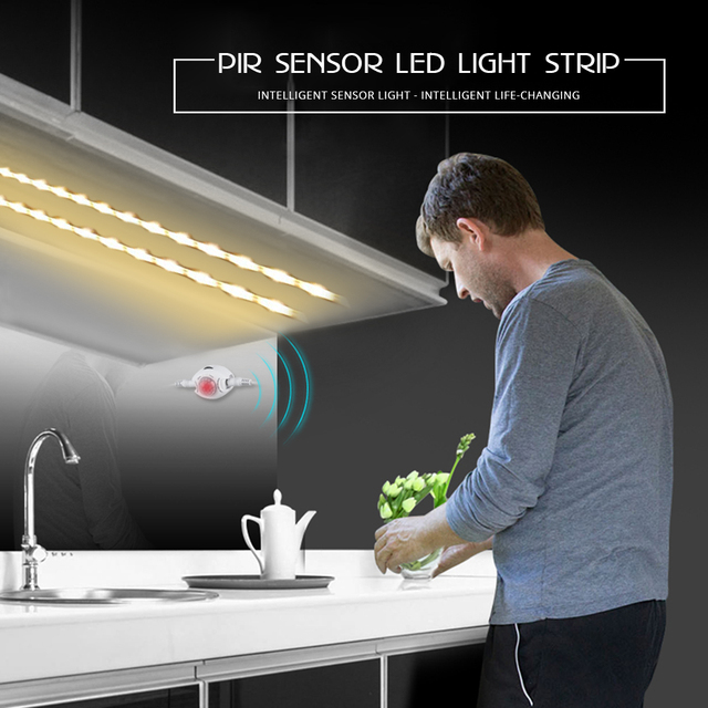 Motion Sensor LED Under Cabinet Light 1m 2m 3m 4m 5m 12V Flexible PIR Night Light Kitchen Wardrobe Bed Lighting